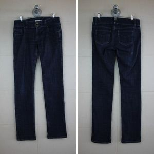 CAbi Dark Straight Leg Double Button Jeans Size 4